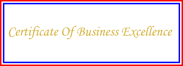 certificate of business excellence usa